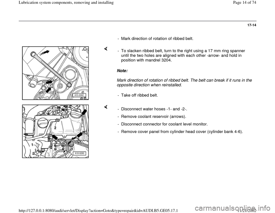 AUDI A4 2000 B5 / 1.G APB Engine Lubrication System Components Workshop Manual, Page 14