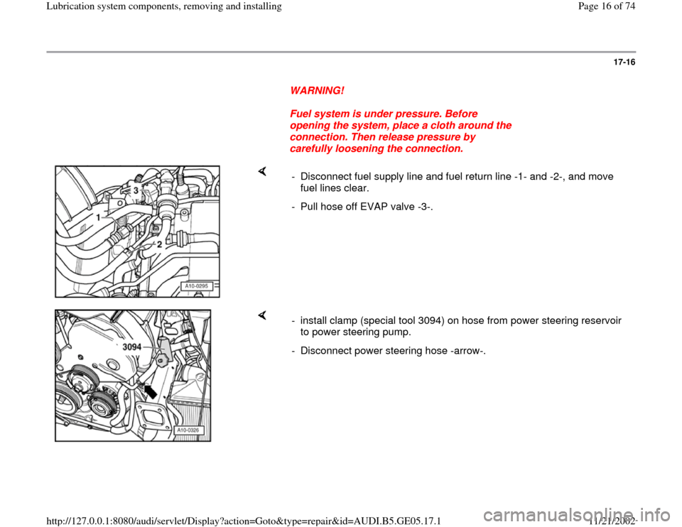 AUDI A4 2000 B5 / 1.G APB Engine Lubrication System Components Workshop Manual, Page 16