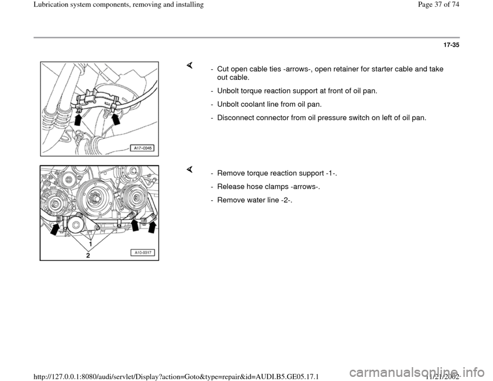 AUDI A4 2000 B5 / 1.G APB Engine Lubrication System Components Workshop Manual, Page 37