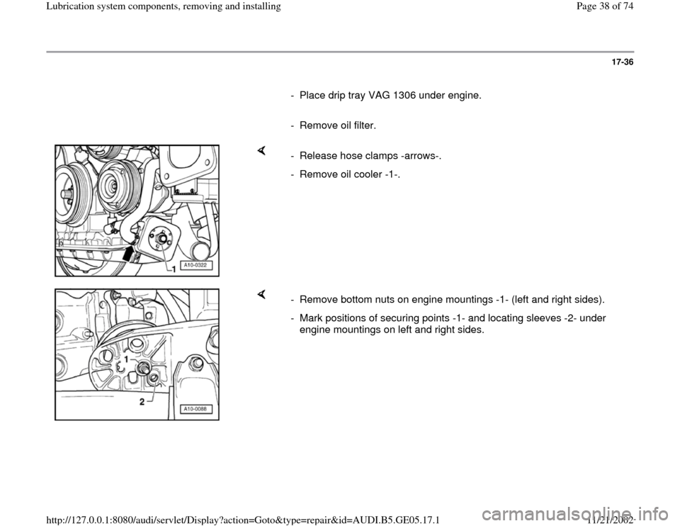 AUDI A4 2000 B5 / 1.G APB Engine Lubrication System Components Workshop Manual, Page 38