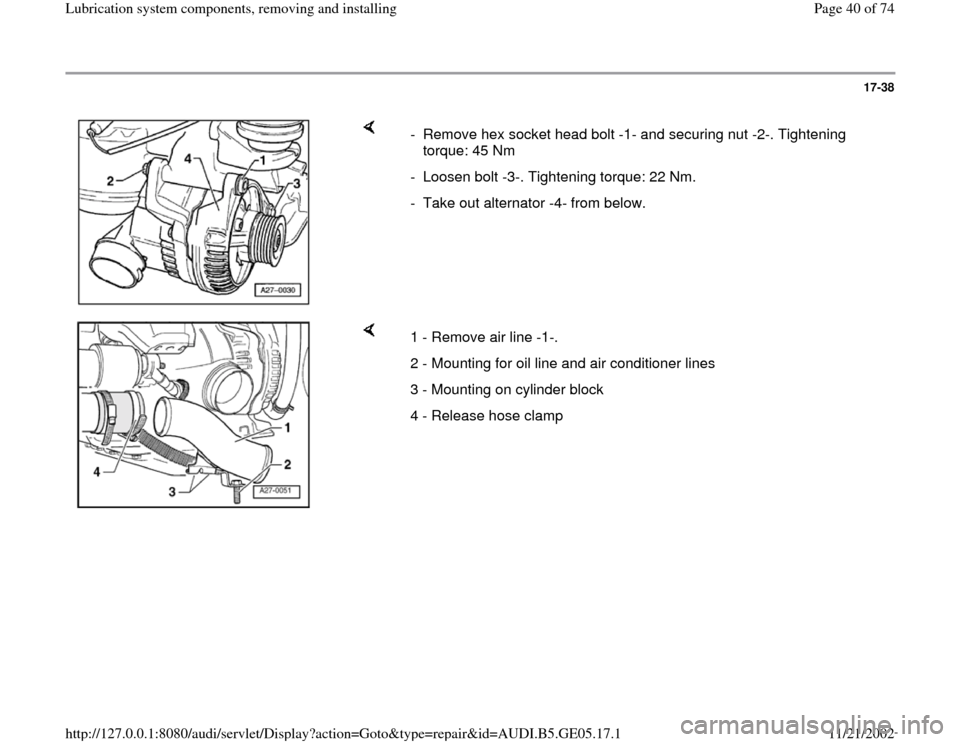 AUDI A4 2000 B5 / 1.G APB Engine Lubrication System Components Workshop Manual, Page 40