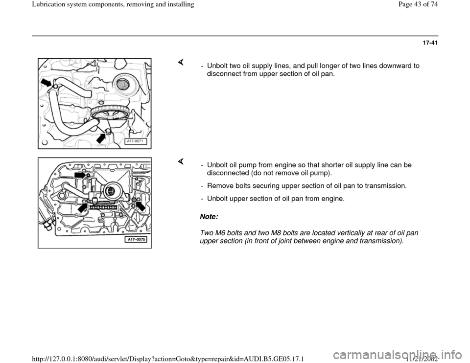 AUDI A4 2000 B5 / 1.G APB Engine Lubrication System Components Workshop Manual, Page 43