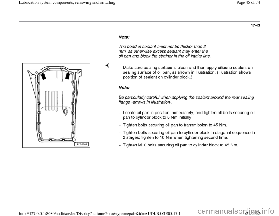 AUDI A4 1999 B5 / 1.G APB Engine Lubrication System Components Workshop Manual, Page 45