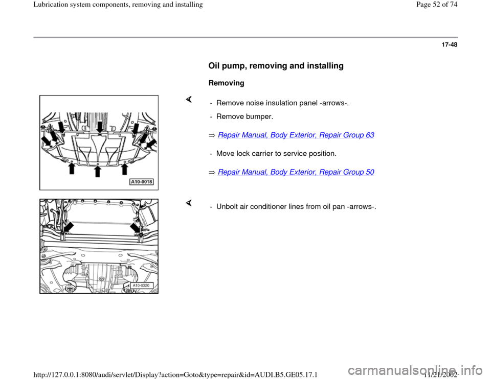 AUDI A4 1995 B5 / 1.G APB Engine Lubrication System Components Workshop Manual, Page 52