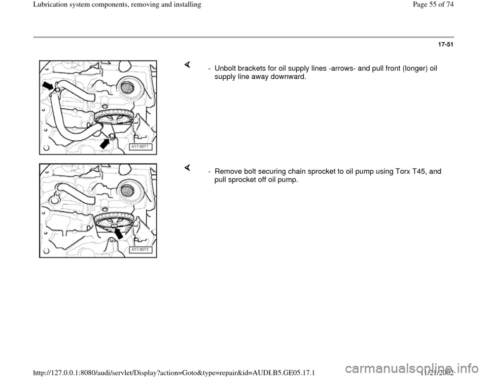 AUDI A4 1995 B5 / 1.G APB Engine Lubrication System Components Workshop Manual, Page 55