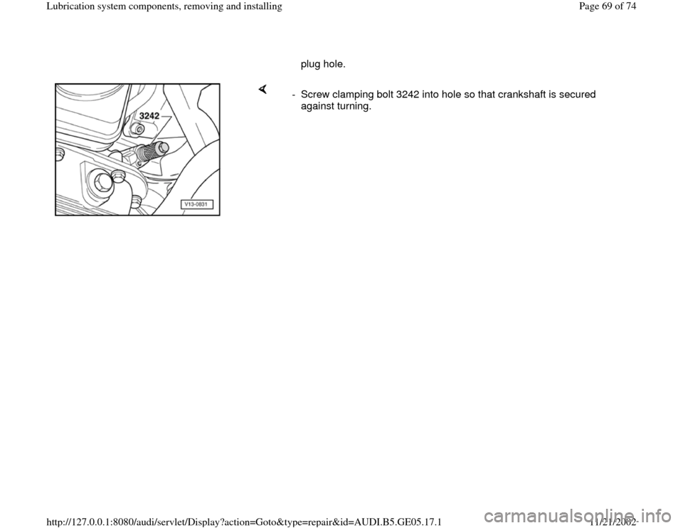 AUDI A4 1997 B5 / 1.G APB Engine Lubrication System Components Workshop Manual, Page 69