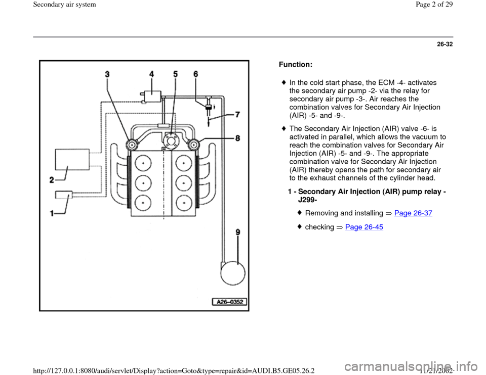 AUDI A4 1999 B5 / 1.G APB Engine Secondary Air System Workshop Manual 26-32      Function:     In the cold start phase, the ECM -4- activates  the secondary air pump -2- via the relay for  secondary air pump -3-. Air reaches the  combination valves for Secondary Air Inj