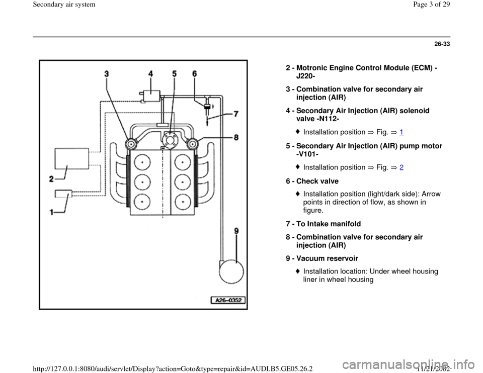 AUDI A4 1999 B5 / 1.G APB Engine Secondary Air System Workshop Manual 26-33      2 -  Motronic Engine Control Module (ECM) - J220-  3 -  Combination valve for secondary air  injection (AIR)  4 -  Secondary Air Injection (AIR) solenoid  valve -N112-  Installation positio