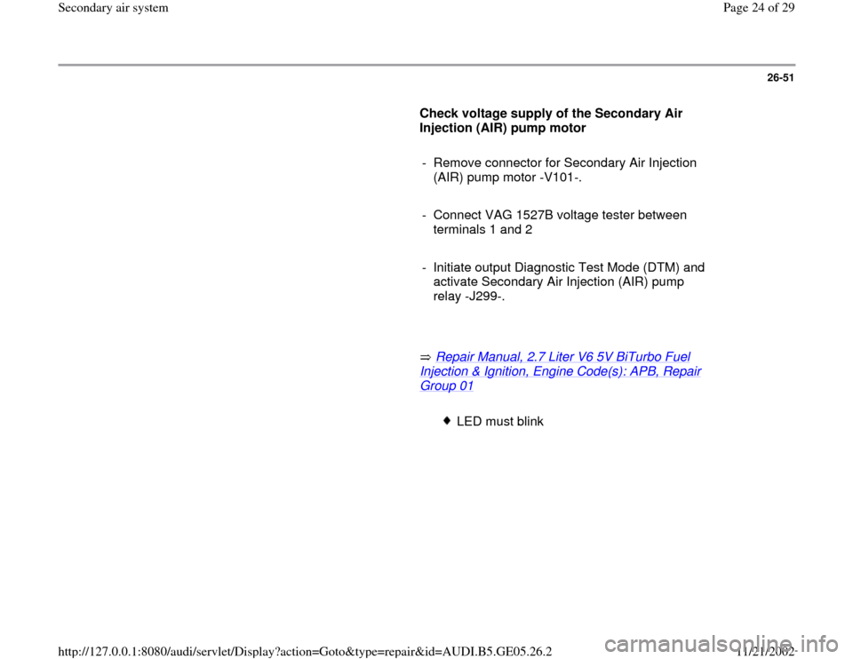 AUDI A4 2000 B5 / 1.G APB Engine Secondary Air System Workshop Manual, Page 24