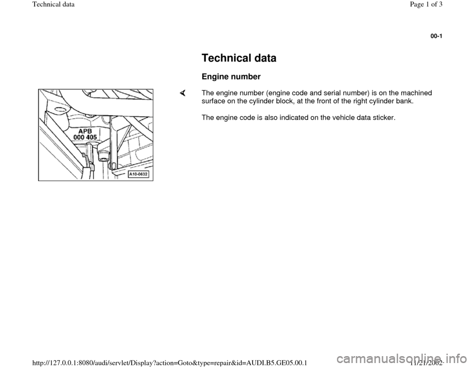 AUDI A4 1996 B5 / 1.G APB Engine Technical Data, Page 1