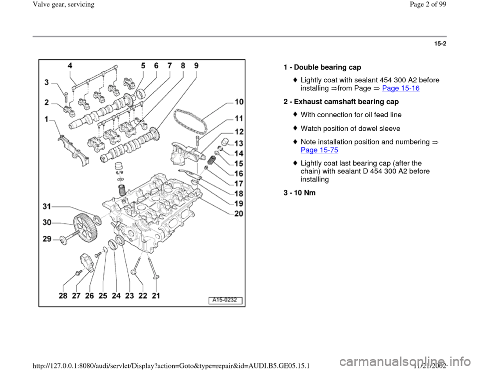 AUDI A4 1998 B5 / 1.G APB Engine Valve Gear Service Workshop Manual 15-2      1 -  Double bearing cap  Lightly coat with sealant 454 300 A2 before  installing from Page  Page 15 -16   2 -  Exhaust camshaft bearing cap  With connection for oil feed lineWatch position o