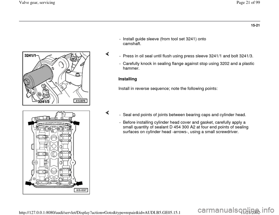 AUDI A4 1997 B5 / 1.G APB Engine Valve Gear Service Workshop Manual, Page 21