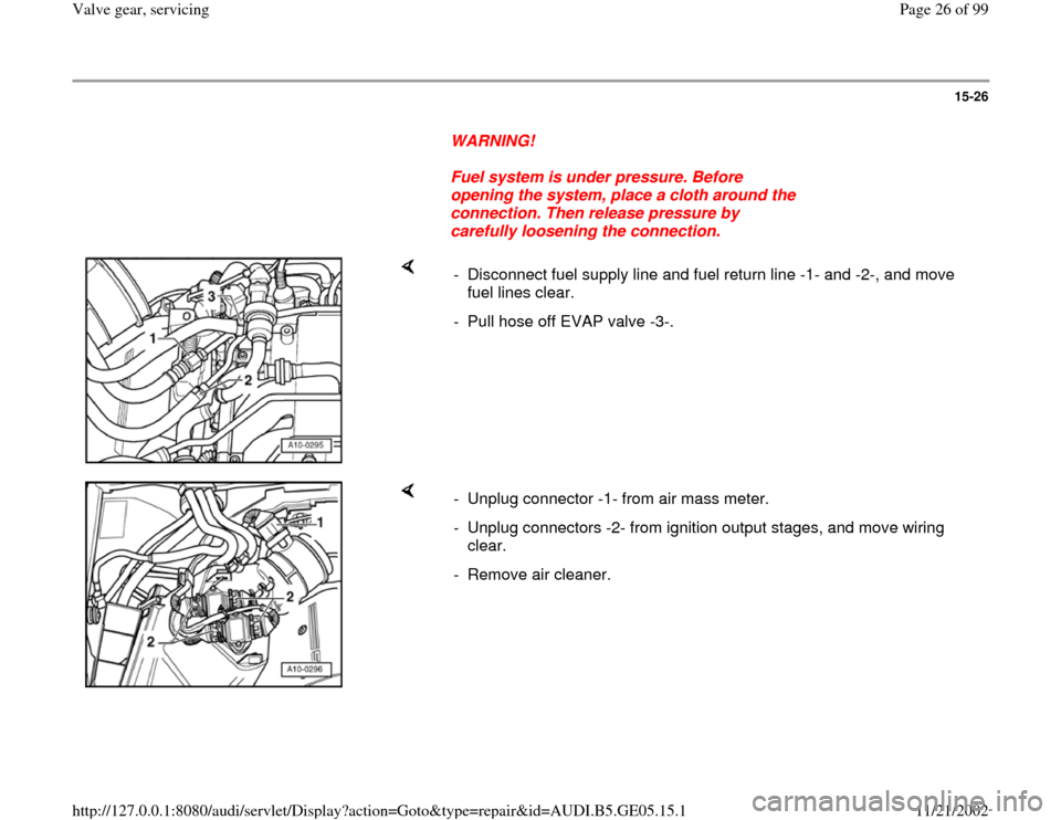 AUDI A4 1997 B5 / 1.G APB Engine Valve Gear Service Workshop Manual, Page 26