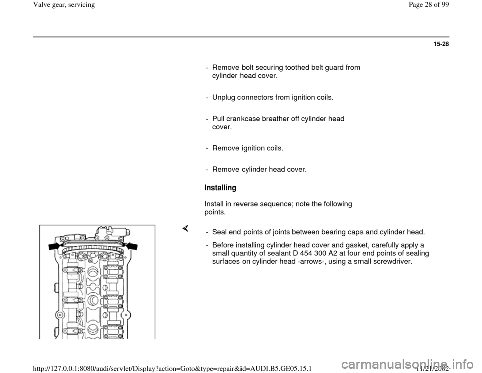 AUDI A4 1997 B5 / 1.G APB Engine Valve Gear Service Workshop Manual, Page 28