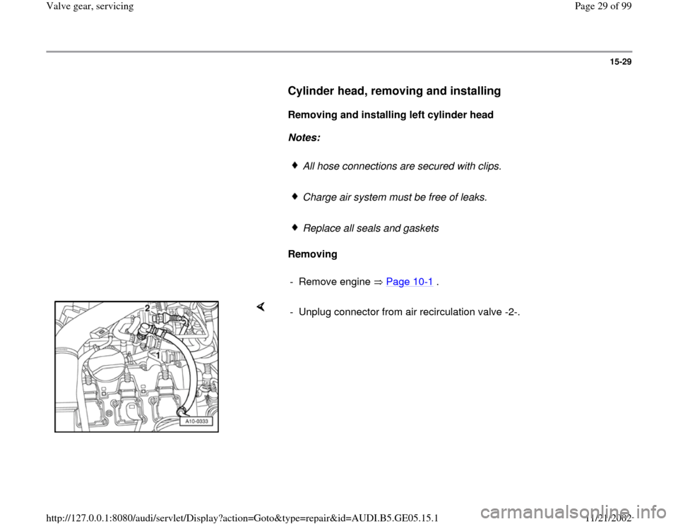 AUDI A4 1997 B5 / 1.G APB Engine Valve Gear Service Workshop Manual, Page 29