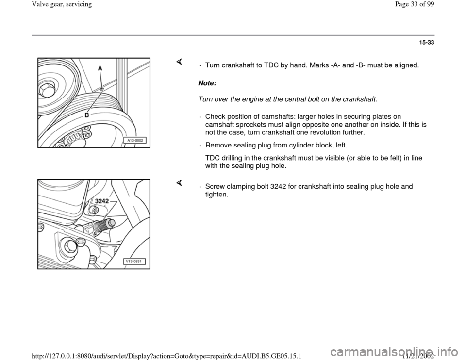 AUDI A4 1998 B5 / 1.G APB Engine Valve Gear Service Workshop Manual, Page 33