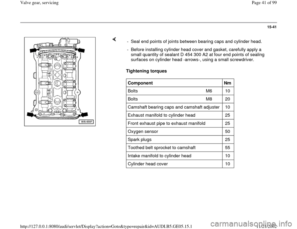 AUDI A4 1999 B5 / 1.G APB Engine Valve Gear Service Workshop Manual, Page 41