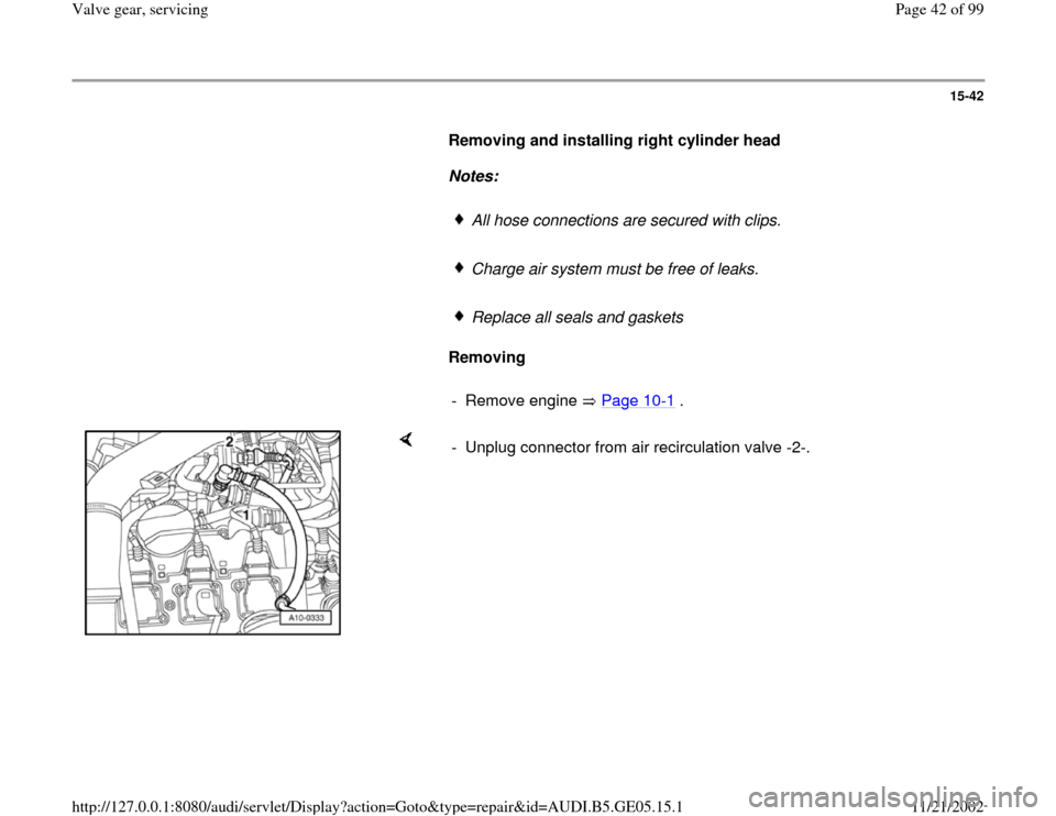 AUDI A4 1995 B5 / 1.G APB Engine Valve Gear Service Workshop Manual, Page 42