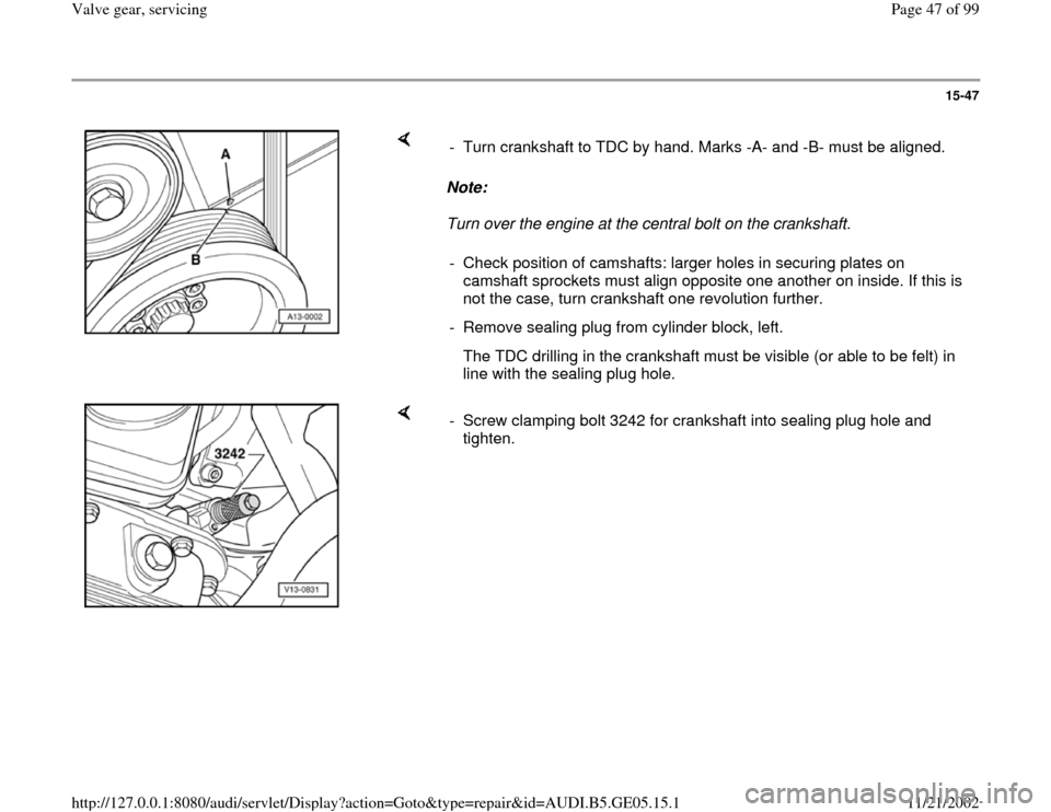 AUDI A4 1995 B5 / 1.G APB Engine Valve Gear Service Workshop Manual, Page 47