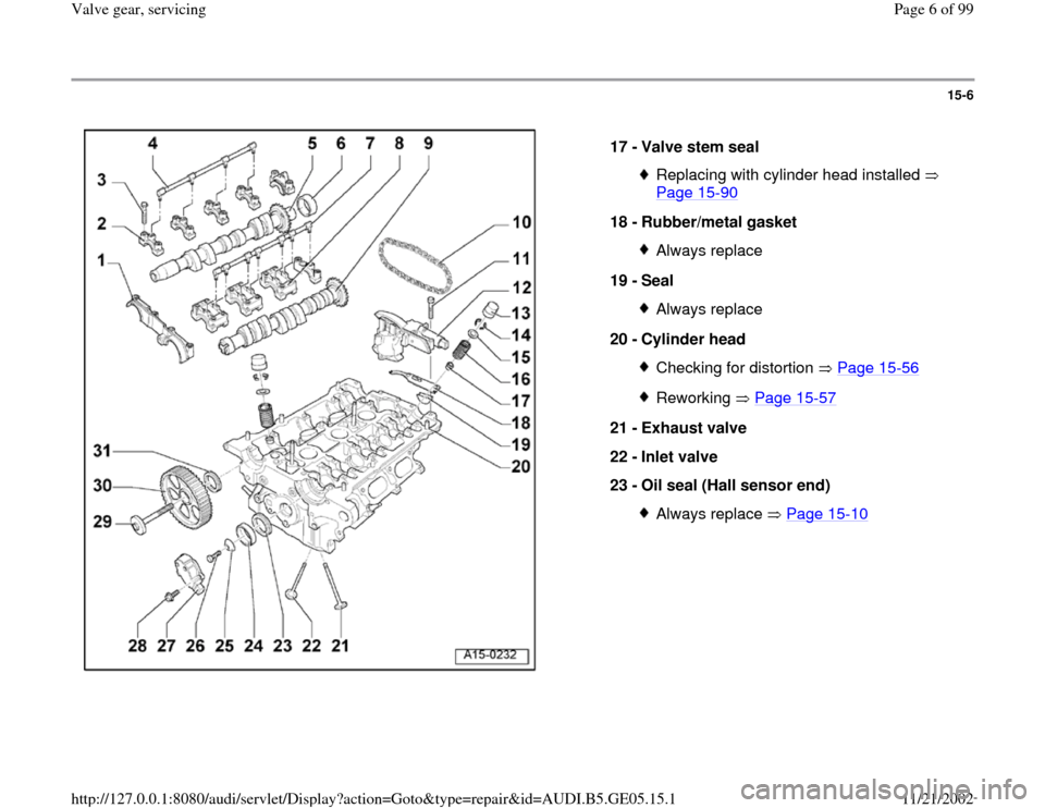 AUDI A4 1998 B5 / 1.G APB Engine Valve Gear Service Workshop Manual 15-6      17 -  Valve stem seal  Replacing with cylinder head installed    Page 15 -90   18 -  Rubber/metal gasket  Always replace 19 -  Seal Always replace 20 -  Cylinder head Checking for distortion