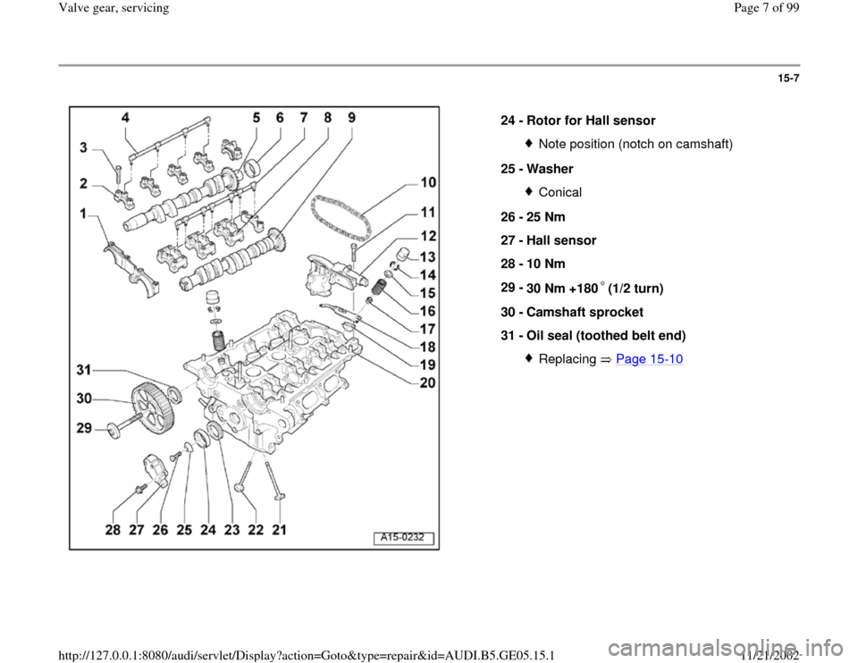 AUDI A4 1998 B5 / 1.G APB Engine Valve Gear Service Workshop Manual 15-7      24 -  Rotor for Hall sensor  Note position (notch on camshaft) 25 -  Washer Conical 26 -  25 Nm  27 -  Hall sensor  28 -  10 Nm  29 -  30 Nm +180 (1/2 turn)  30 -  Camshaft sprocket  31 -  O