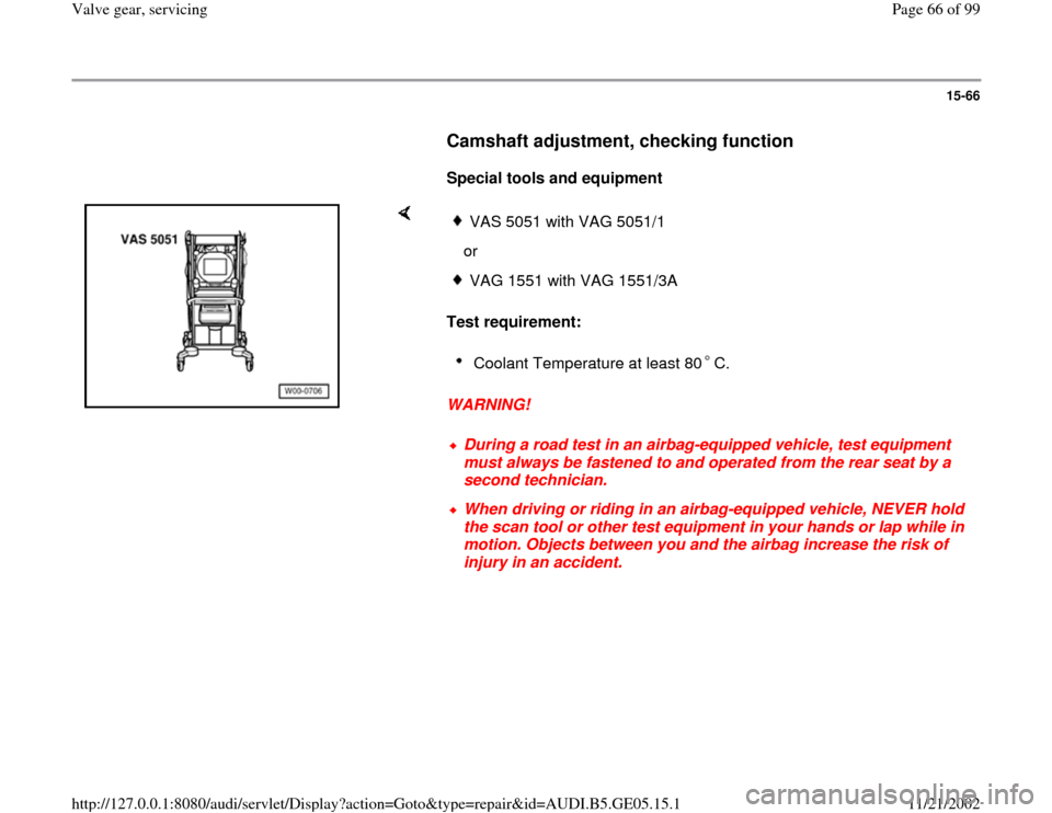AUDI A4 1997 B5 / 1.G APB Engine Valve Gear Service Workshop Manual, Page 66