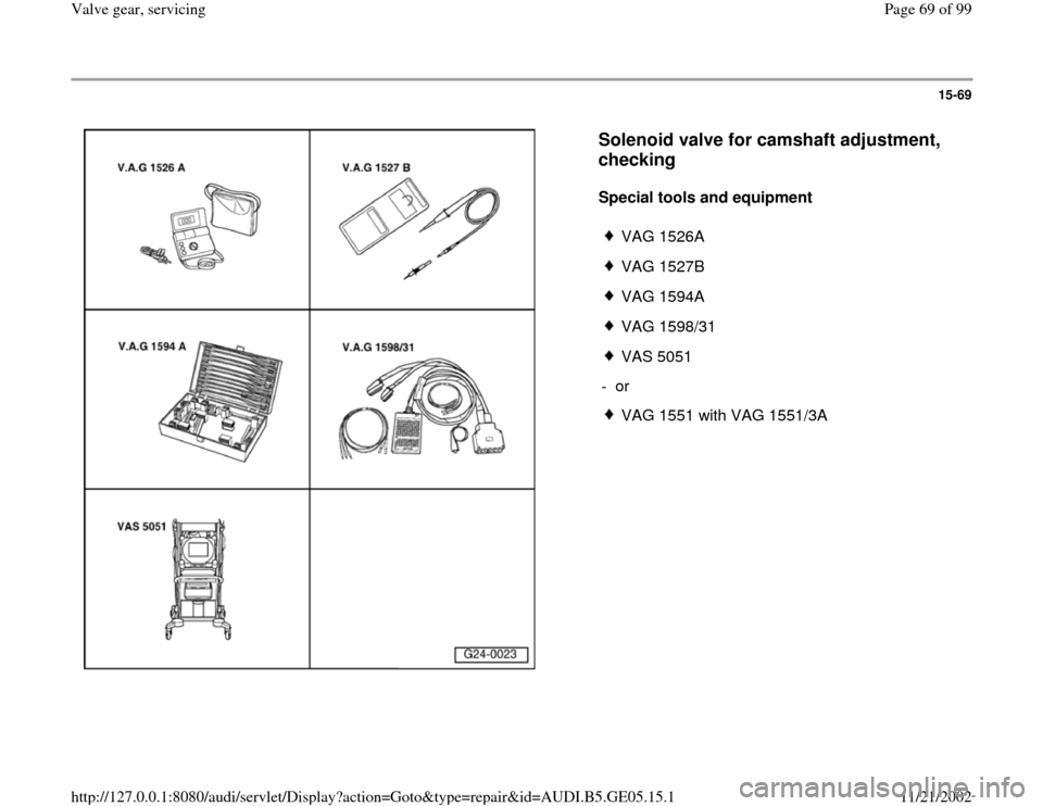 AUDI A4 1997 B5 / 1.G APB Engine Valve Gear Service Workshop Manual, Page 69