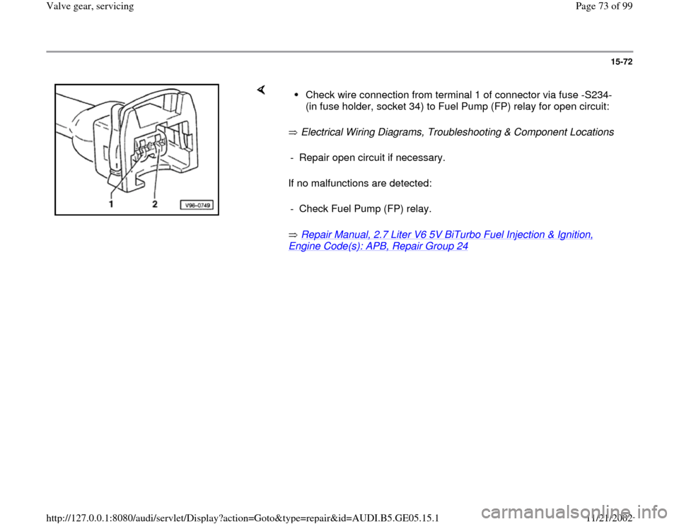 AUDI A4 1996 B5 / 1.G APB Engine Valve Gear Service Manual PDF 15-72         Electrical Wiring Diagrams, Troubleshooting & Component Locations    If no malfunctions are detected:    Repair Manual, 2.7 Liter V6 5V BiTurbo Fuel Injection & Ignition,  Engine Code(s)