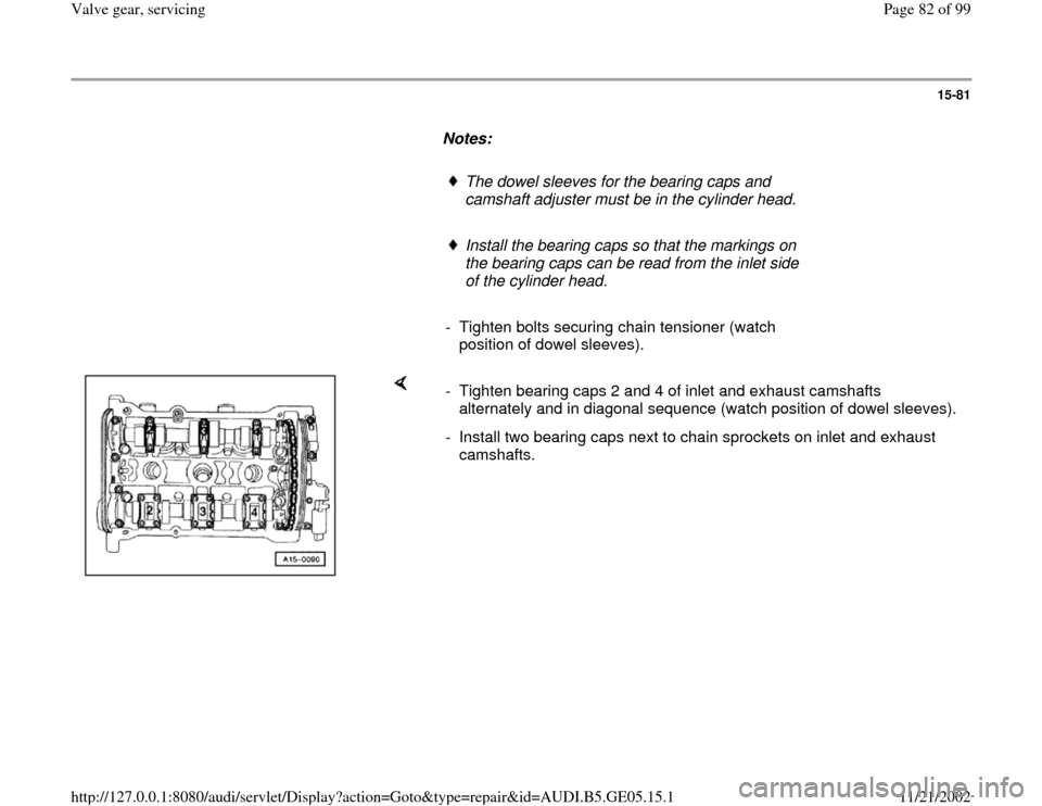 AUDI A4 1999 B5 / 1.G APB Engine Valve Gear Service Workshop Manual, Page 82