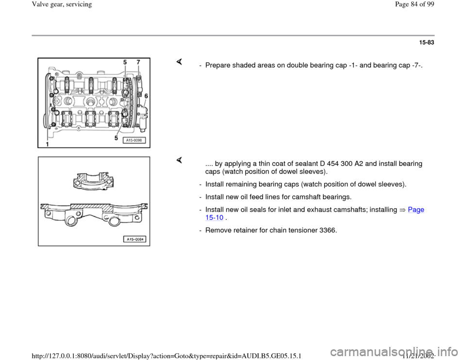 AUDI A4 1999 B5 / 1.G APB Engine Valve Gear Service Workshop Manual, Page 84