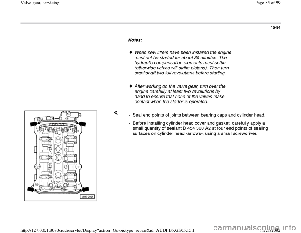 AUDI A4 1999 B5 / 1.G APB Engine Valve Gear Service Workshop Manual, Page 85