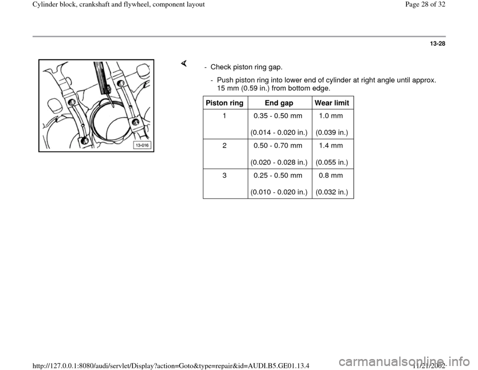 AUDI A4 1996 B5 / 1.G AFC Engine Cylinder Block Crankshaft And Flywheel Component Assembly Manual 13-28        -  Check piston ring gap.    -  Push piston ring into lower end of cylinder at right angle until approx.  15 mm (0.59 in.) from bottom edge. Piston ring   End gap   Wear limit   1   0.35