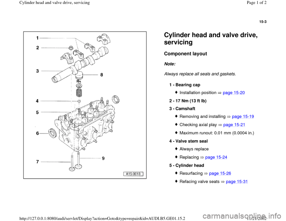 AUDI A4 2000 B5 / 1.G AFC Engine Cylinder Head And Valve Drive Service Workshop Manual 15-3      Cylinder head and valve drive,  servicing Component layout   Note:   Always replace all seals and gaskets.  1 -  Bearing cap  Installation position   page 15 -20 2 -  17 Nm (13 ft lb)  3 -