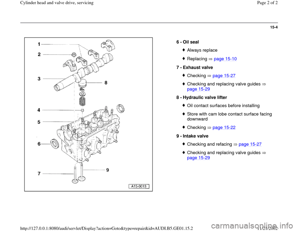AUDI A4 2000 B5 / 1.G AFC Engine Cylinder Head And Valve Drive Service Workshop Manual 15-4      6 -  Oil seal  Always replaceReplacing  page 15 -10 7 -  Exhaust valve  Checking  page 15 -27 Checking and replacing valve guides    page 15 -29   8 -  Hydraulic valve lifter  Oil contact su