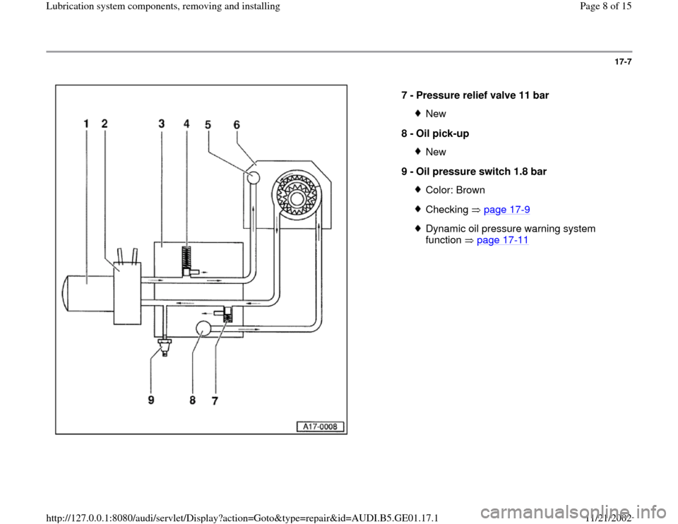 AUDI A4 2000 B5 / 1.G AFC Engine Lubrication System Components Workshop Manual 17-7      7 -  Pressure relief valve 11 bar  New 8 -  Oil pick-up New 9 -  Oil pressure switch 1.8 bar Color: BrownChecking  page 17 -9 Dynamic oil pressure warning system  function  page 17 -11   Pa