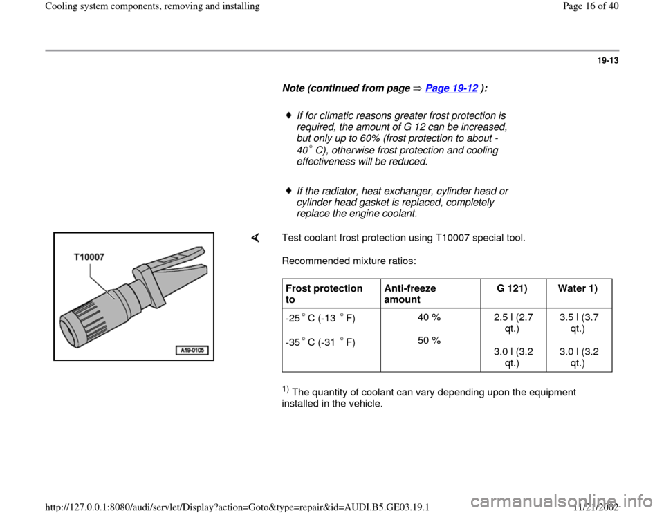 AUDI A8 1997 D2 / 1.G AHA ATQ Engines Cooling System Components User Guide 19-13        Note (continued from page   Page 19 -12  ):         If for climatic reasons greater frost protection is  required, the amount of G 12 can be increased,  but only up to 60% (frost protecti