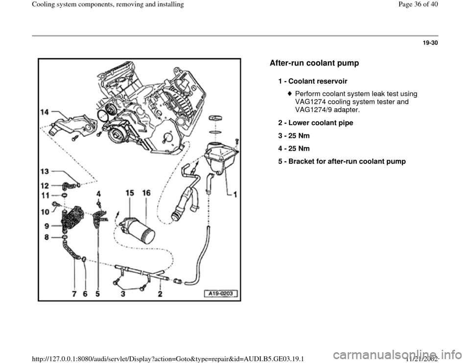 AUDI A4 2000 B5 / 1.G AHA ATQ Engines Cooling System Components Owners Guide 19-30      After-run coolant pump   1 -  Coolant reservoir  Perform coolant system leak test using  VAG1274 cooling system tester and  VAG1274/9 adapter.  2 -  Lower coolant pipe  3 -  25 Nm  4 -  25