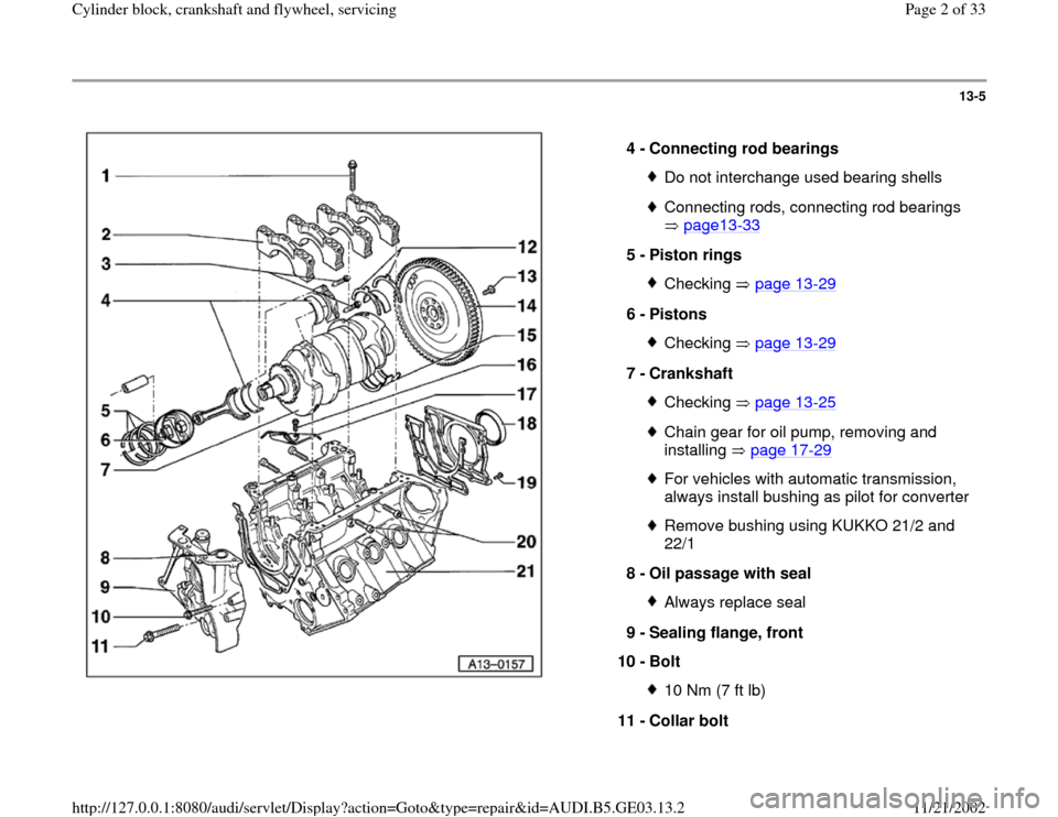 AUDI A4 1997 B5 / 1.G AHA ATQ Engines Cylinder Block Crankshaft And Flywheel Component Service Manual 13-5      4 -  Connecting rod bearings  Do not interchange used bearing shellsConnecting rods, connecting rod bearings   page13 -33   5 -  Piston rings  Checking  page 13 -29 6 -  Pistons  Checking  p