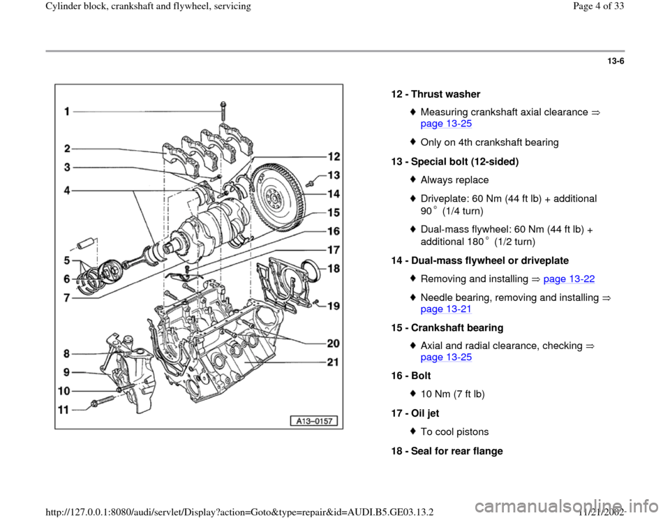 AUDI A4 1997 B5 / 1.G AHA ATQ Engines Cylinder Block Crankshaft And Flywheel Component Service Manual 13-6      12 -  Thrust washer  Measuring crankshaft axial clearance    page 13 -25   Only on 4th crankshaft bearing 13 -  Special bolt (12-sided) Always replaceDriveplate: 60 Nm (44 ft lb) + additiona