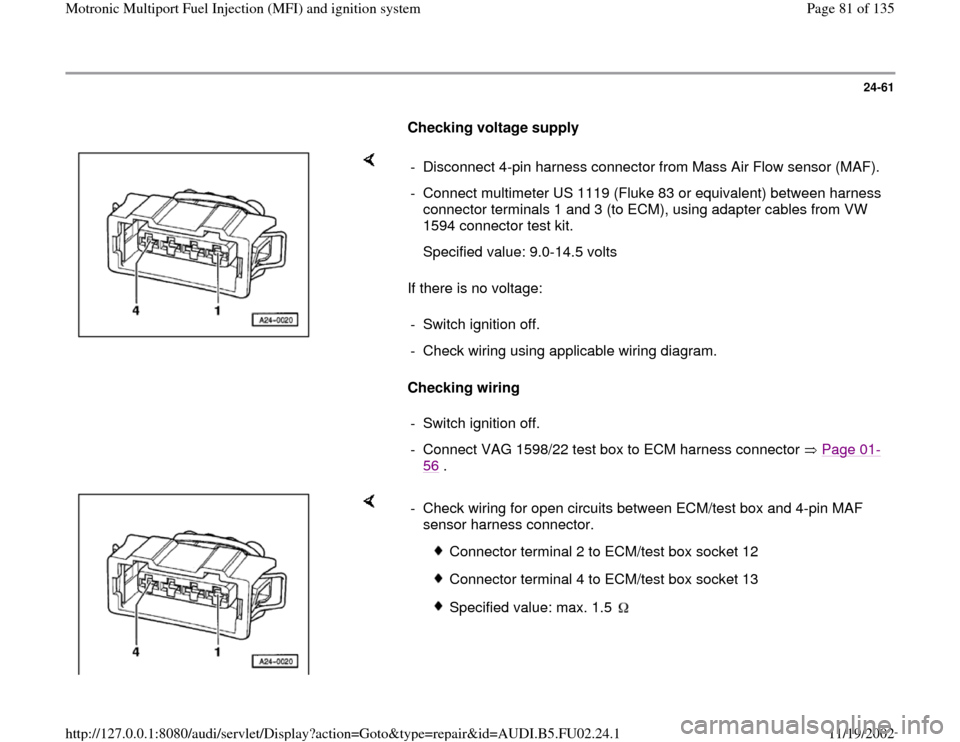 AUDI A4 1995 B5 / 1.G  Pin Wiring Diagram Maf Sensor on
