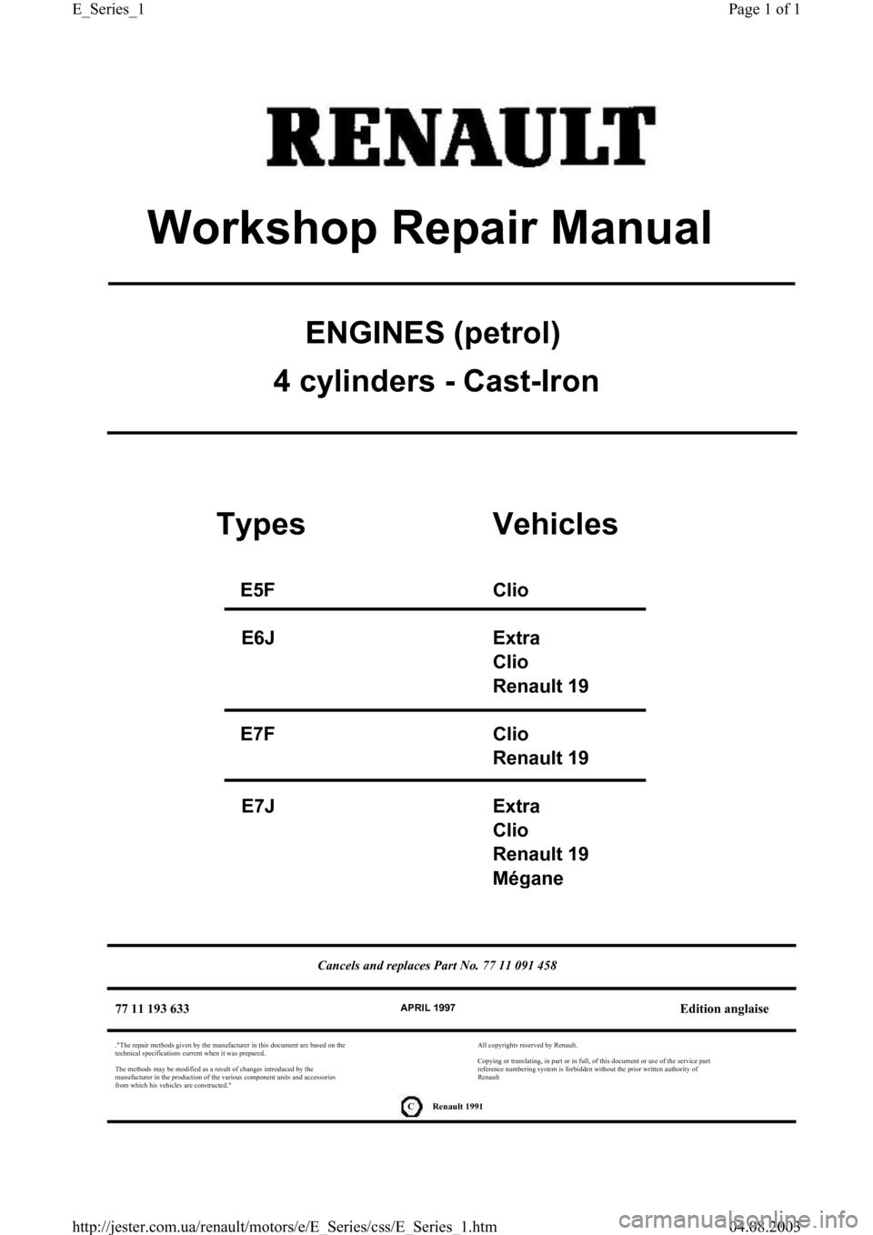RENAULT CLIO 1997 X57 / 1.G Petrol Engines Workshop Manual, Page 1
