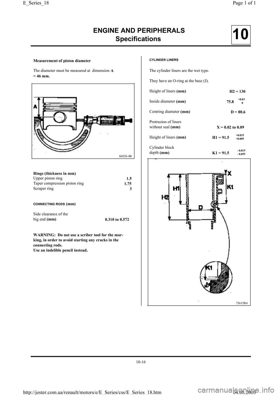 RENAULT CLIO 1997 X57 / 1.G Petrol Engines Workshop Manual, Page 18