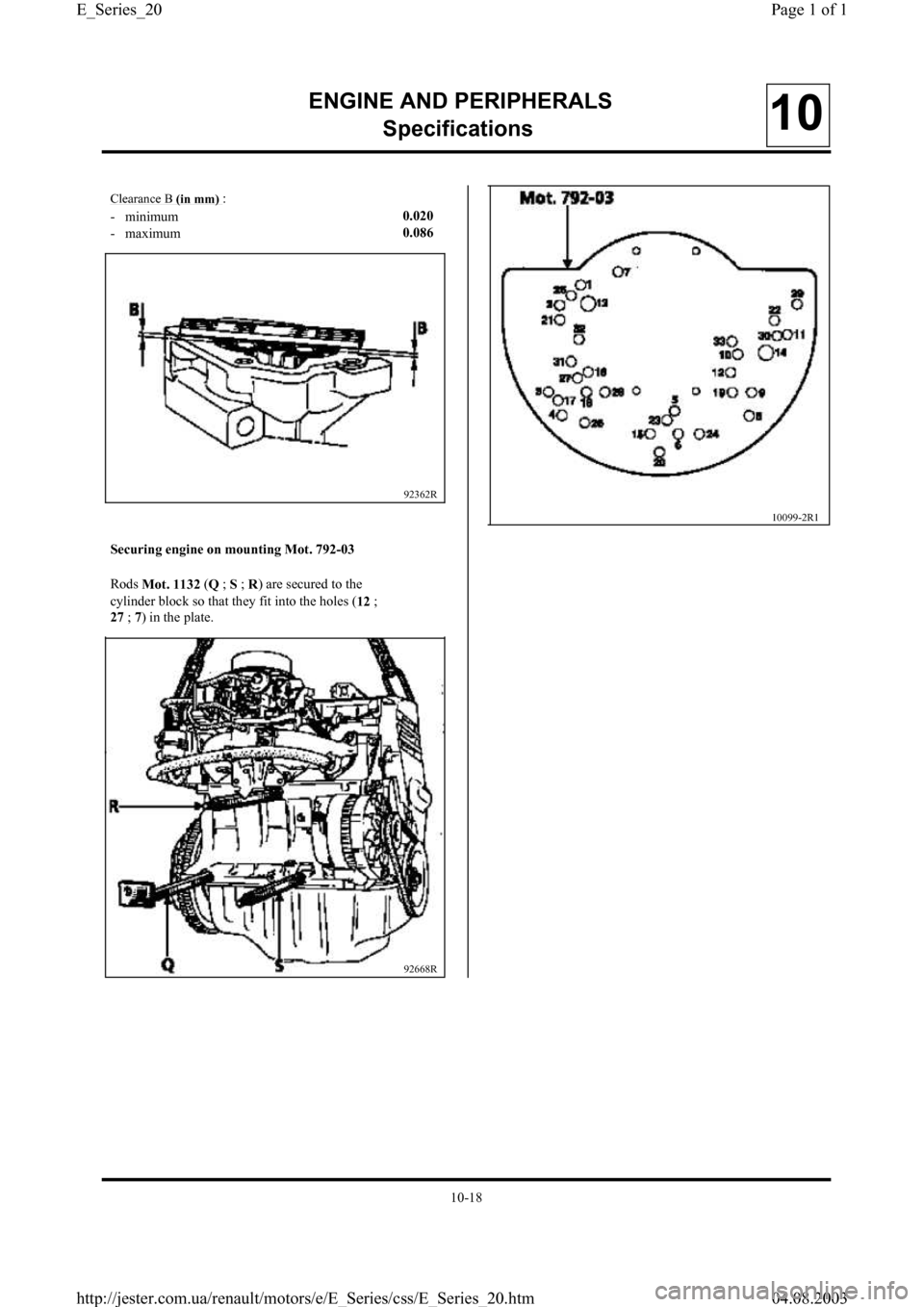 RENAULT CLIO 1997 X57 / 1.G Petrol Engines Workshop Manual, Page 20