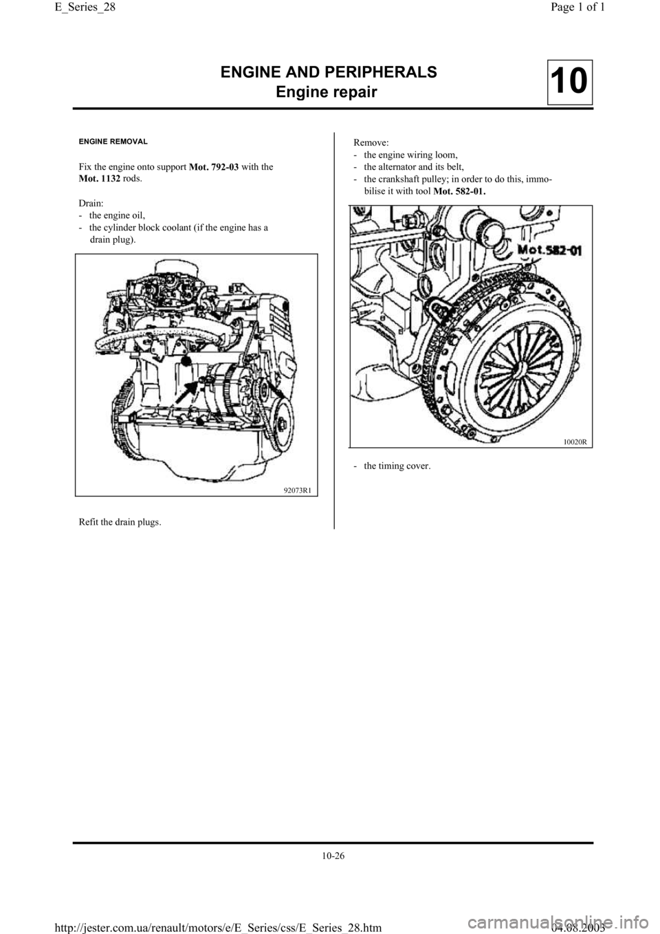 RENAULT CLIO 1997 X57 / 1.G Petrol Engines Workshop Manual, Page 28