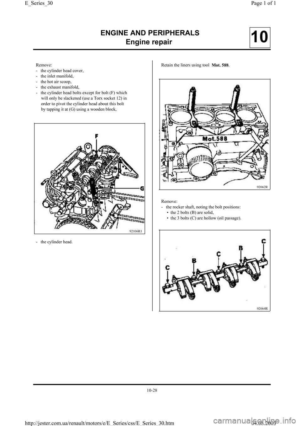 RENAULT CLIO 1997 X57 / 1.G Petrol Engines Workshop Manual, Page 30