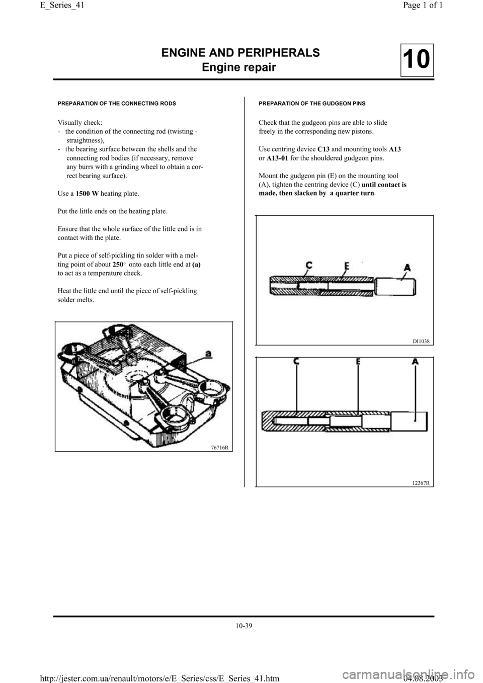 RENAULT CLIO 1997 X57 / 1.G Petrol Engines Workshop Manual, Page 41
