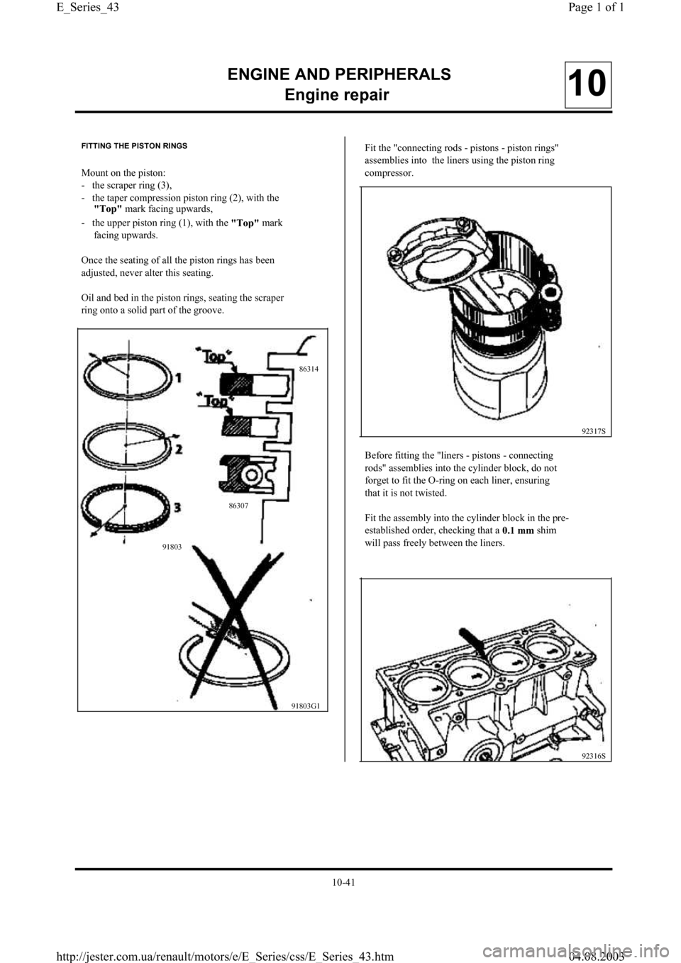 RENAULT CLIO 1997 X57 / 1.G Petrol Engines Workshop Manual, Page 43