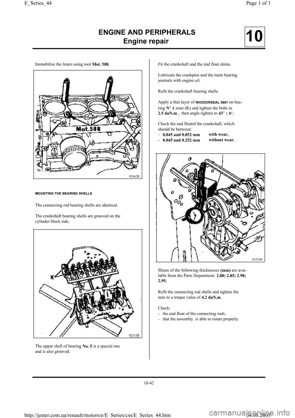 RENAULT CLIO 1997 X57 / 1.G Petrol Engines Workshop Manual, Page 44