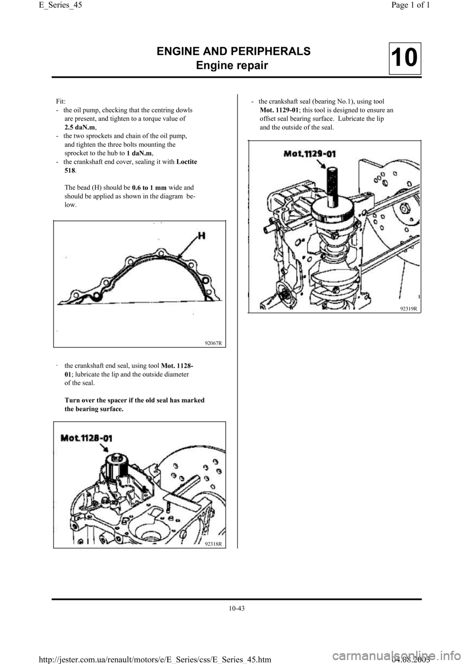 RENAULT CLIO 1997 X57 / 1.G Petrol Engines Workshop Manual, Page 45