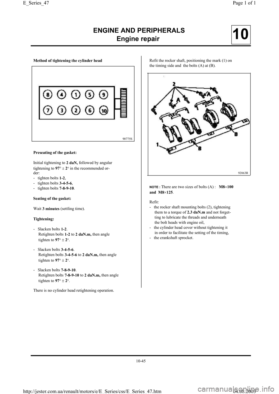 RENAULT CLIO 1997 X57 / 1.G Petrol Engines Workshop Manual, Page 47
